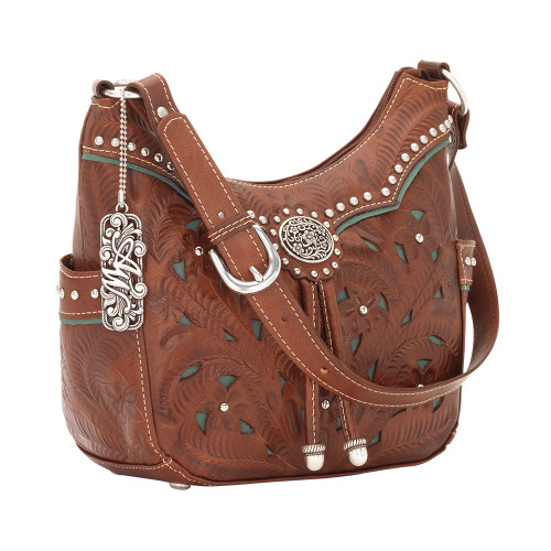 American West Lady Lace Zip-Top Everyday Hobo 2 Side Pockets Antique Brown