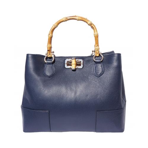 Italian Leather Collection 'Fabrizia'  Italian Pebbled Leather Handbag Bamboo Handles