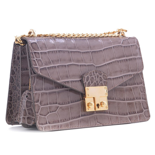 Carbotti Womens Premium Calfskin Croc Embossed Leather Bag - Taupe