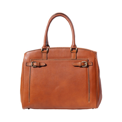 Italian Leather Collection Womens 8501 Classic Tan Italian Leather Handbag