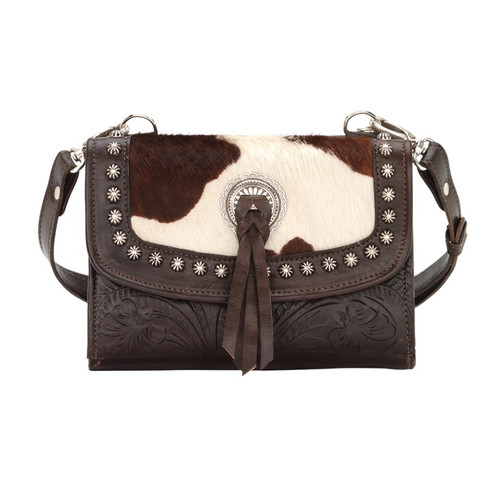 American West Texas Two Step Small Crossbody Bag/Wallet  Chocolate / Pony Hair