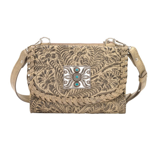 American West Texas Two Step Small Crossbody Bag/Wallet  Sand
