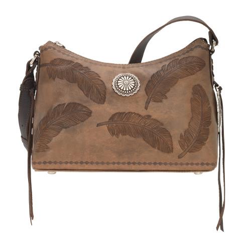 American West Sacred Bird Leather Zip Top Shoulder Bag