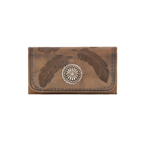 American West Sacred Bird Leather Tri-Fold Wallet