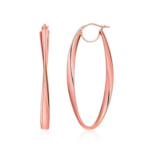 Twist Motif Oval Shape Hoop Earrings in 14K Rose Gold