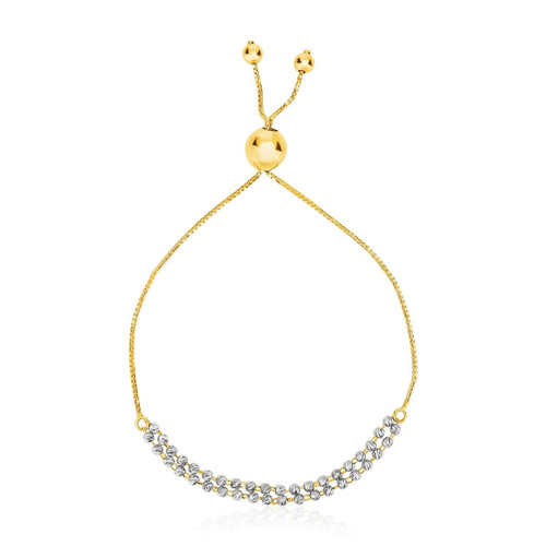 14K Two-Tone Yellow and White Gold Adjustable Textured Bracelet