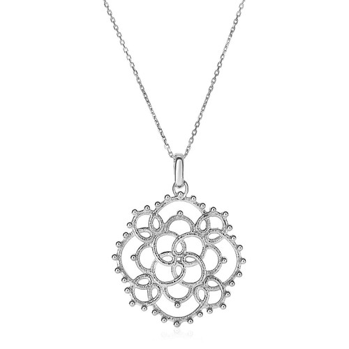 Sterling Silver Women's Textured Lace-Motif Pendant Necklace