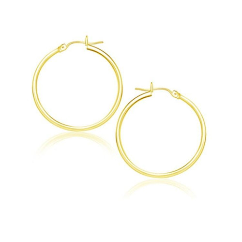 Polished Solid Gold Hoop Earrings (25 mm) in 10K Yellow Gold