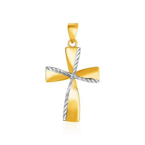 Textured Cross Pendant in 14K Two-Toned Yellow and White Gold