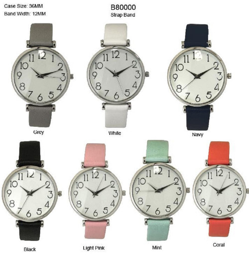 Classic Easy to Read Ladies Round 36mm Fashion Watch Thin Leatherette Strap