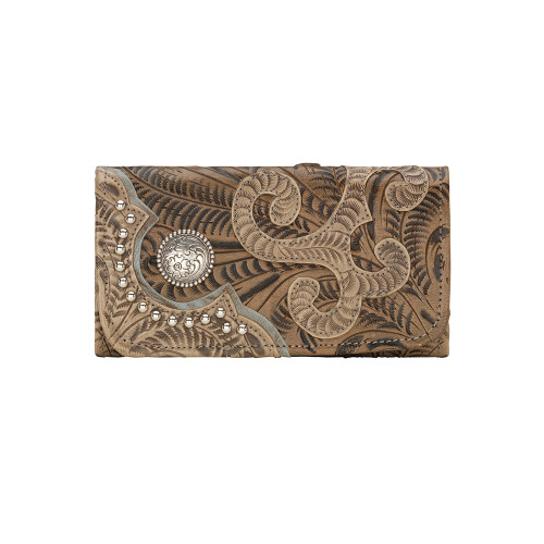 American West Annie's Secret Collection Ladies' Tri-Fold Wallet -Sand/Distressed Charcoal