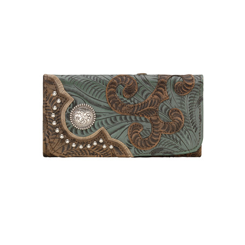American West Annie's Secret Collection Ladies' Tri-Fold Wallet -Distressed Charcoal Brown/Turquoise