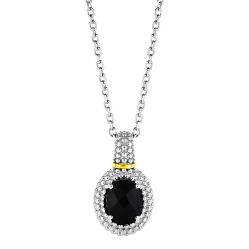 Phillip Gavriel Popcorn Sterling Silver Oval Onyx Pendant Necklace 18K Yellow Gold Accents