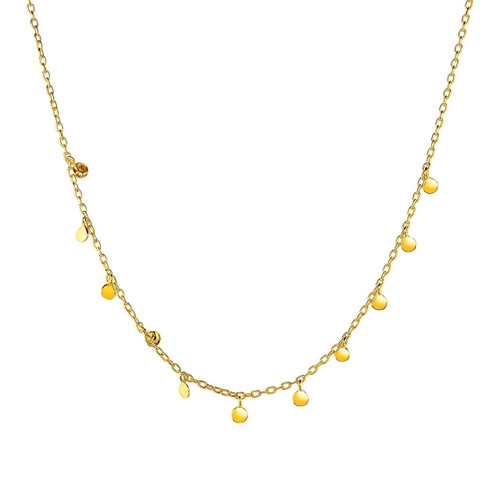 14K Yellow Gold Womens Choker Necklace with Hammered Beads