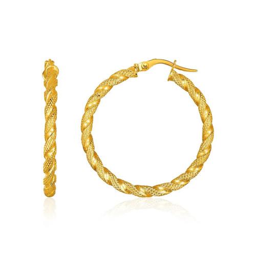 14K Yellow Gold Rope Textured Hoop Earrings