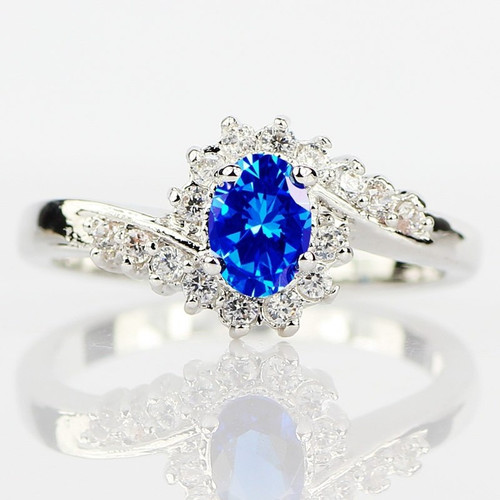 Blue Created Sapphire Fashion Ring - Size 8