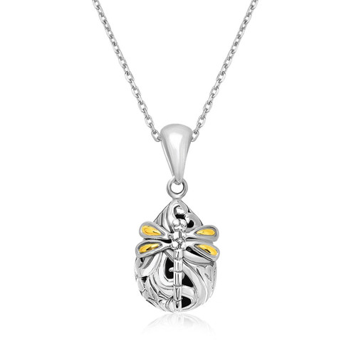 Phillip Gavriel Womens Sterling Silver Dragonfly Baroque Teardrop Pendant Necklace