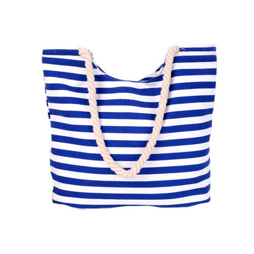 Blue and White Striped Canvas Tote Shoulder Bag Rope Handles