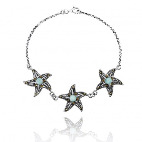 Marcasite Sterling Silver Triple Starfish Bracelet with Larimar Gemstones
