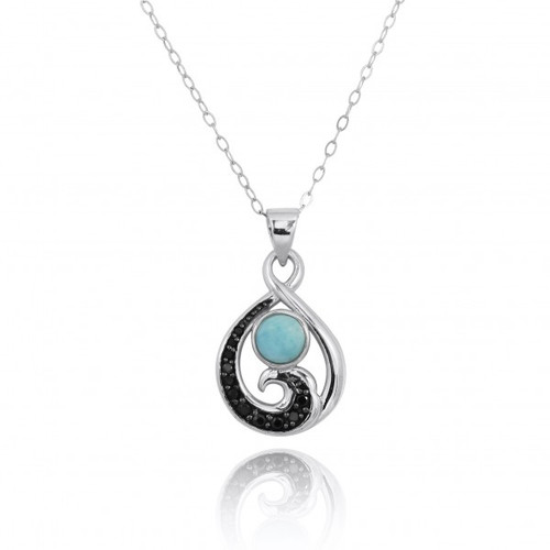 Sterling Silver Black Spinel Wave Pendant Necklace with Larimar