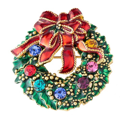 Holiday Gold Plated Christmas Wreath Brooch Pin Red Bow Crystal Ornaments