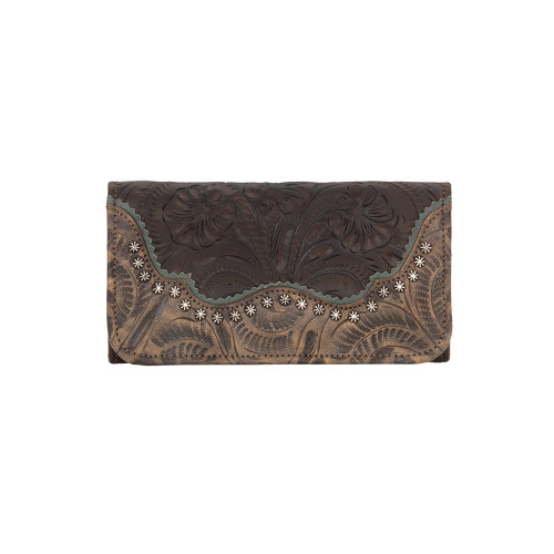 American West Saddle Ridge Ladies' Tri-fold Wallet - Chocolate