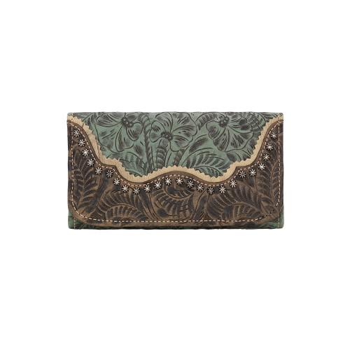 American West Saddle Ridge Ladies' Tri-fold Wallet - Turquoise