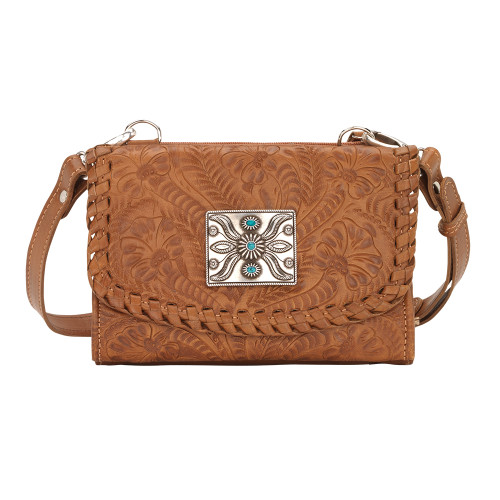 American West Texas Two Step Small Crossbody Bag/Wallet - Golden Tan