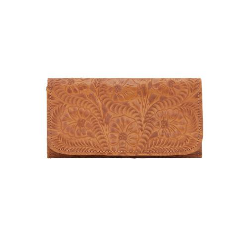 American West Black Leather Ladies' Tri-fold Checkbook Wallet -Golden Tan