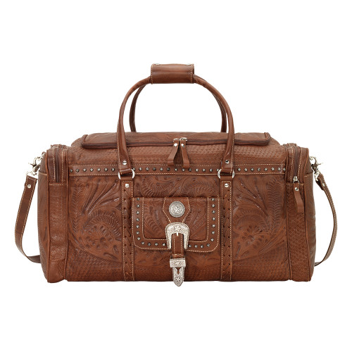 American West Unisex Retro Romance Zip Around Rodeo Bag - Antique Brown