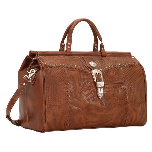 American West Unisex Retro Romance Duffel Travel Bag - Antique Brown
