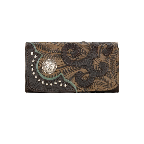 American West Womens Annie's Secret Collection Ladies' Tri-Fold Wallet-Chocolate