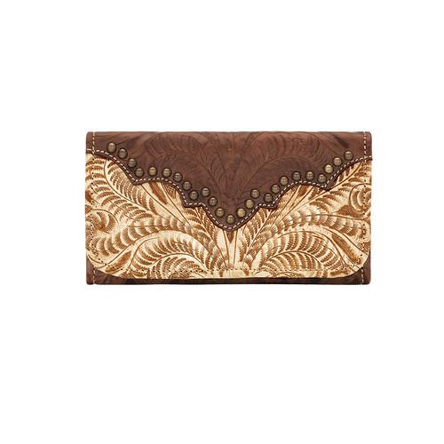 American West Womens Annie's Secret Collection Tri-Fold Wallet - Cream