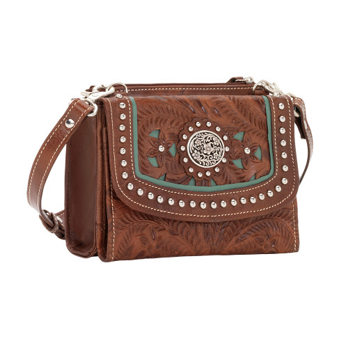 American West Lady Lace Small Crossbody Bag/Wallet -Antique Brown/Turquoise