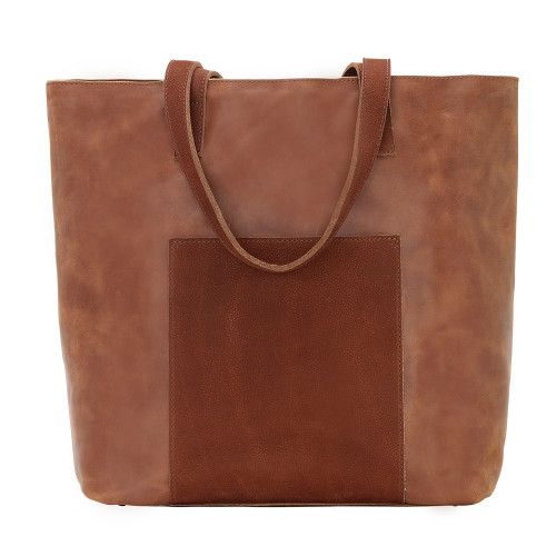 American West TrueLu Womens Olivia Smooth Distressed & Mottled Leather Bucket Tote - Rust