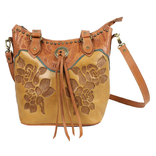 American West Texas Rose Leather Large Bucket Tote - Golden Tan