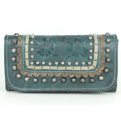 American West Blue Ridge Ladies' Tri-fold Wallet - Dark Turquoise