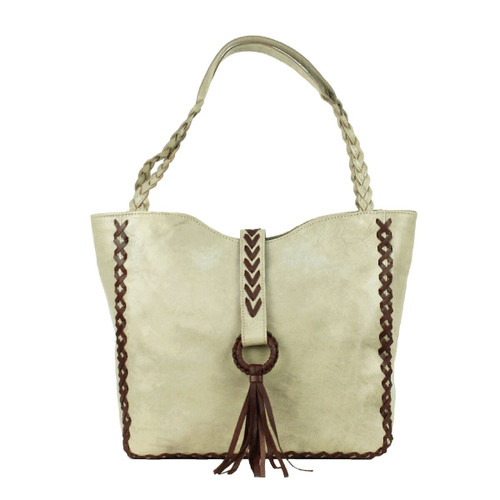 American West Wood River Leather Large Zip Top Tote