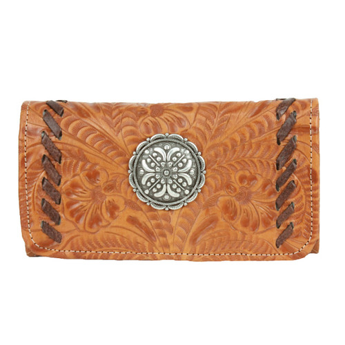 American West Lariats & Lace Leather Tri-Fold Wallet