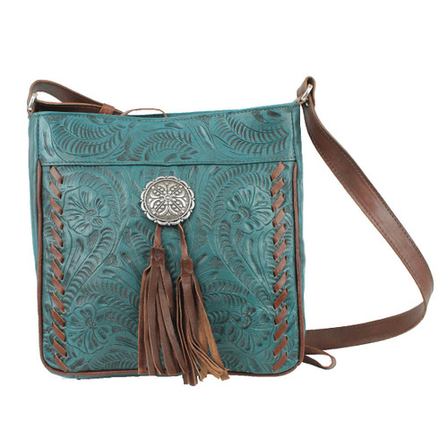 American West Lariats & Lace Leather Messenger Bag - Includes Wallet Compartment