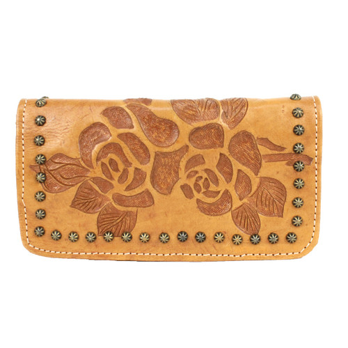 American West Texas Rose Leather Tri-fold Wallet