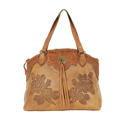 American West Texas Rose Leather Half-Moon Tote with Concealed Compartment