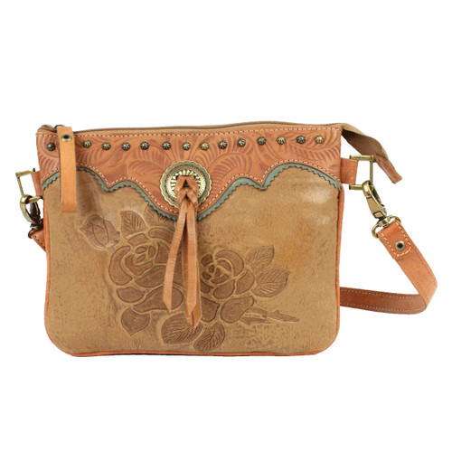 American West Texas Rose Leather Multi-Compartment Crossbody Bag