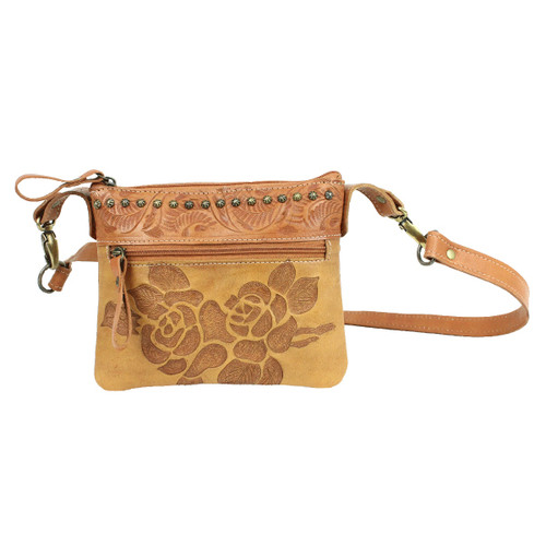American West Texas Rose Leather Trail Rider Crossbody / Hip Bag