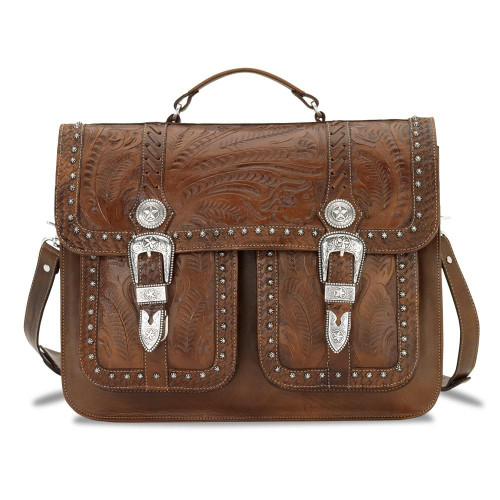 American West Retro Romance Leather Multi-Compartment Laptop Briefcase  with Pockets