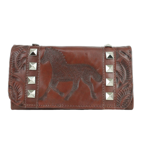 American West Womens Hitchin' Post Leather Tri-fold Wallet