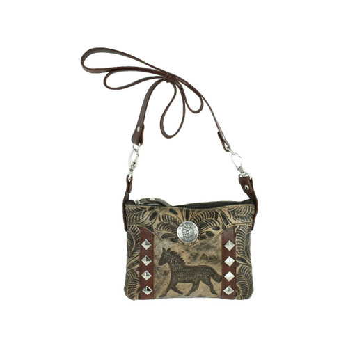American West Hitchin' Post Leather Trail Rider Crossbody / Hip Bag