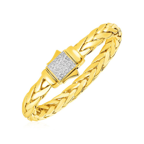 Phillip Gavriel 14k Yellow Gold Woven Rope Bracelet Diamond Accented Clasp