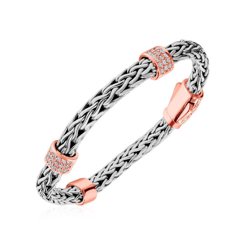 Phillip Gavriel Woven Bracelet Rose Finish and White Sapphire Accents in Sterling Silver