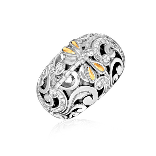 Phillip Gavriel Womens Sterling Silver Diamond Dragonfly Ring, Size 7